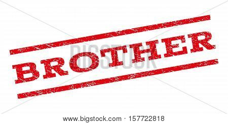Brother watermark stamp. Text tag between parallel lines with grunge design style. Rubber seal stamp with unclean texture. Vector red color ink imprint on a white background.