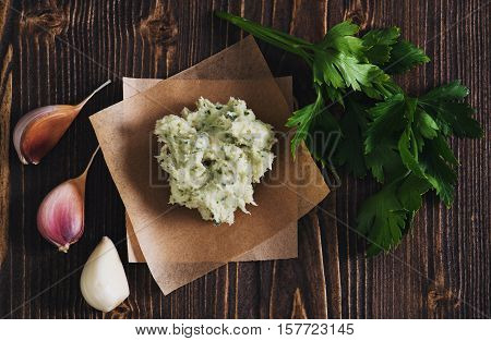 Lard With Salt, Garlic And Herbs