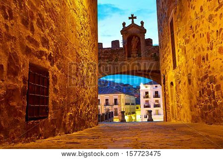 Caceres Arco de la Estrella Star arch in Spain entrance to monumental city