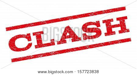 Clash watermark stamp. Text caption between parallel lines with grunge design style. Rubber seal stamp with dust texture. Vector red color ink imprint on a white background.