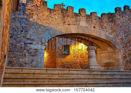 Caceres Arco de la Estrella Star arch sunset in Spain entrance to monumental city