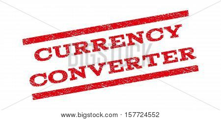 Currency Converter watermark stamp. Text tag between parallel lines with grunge design style. Rubber seal stamp with unclean texture. Vector red color ink imprint on a white background.