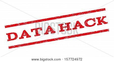 Data Hack watermark stamp. Text caption between parallel lines with grunge design style. Rubber seal stamp with unclean texture. Vector red color ink imprint on a white background.