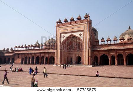 FATEHPUR SIKRI, INDIA - FEBRUARY 15: Jama Masjid Mosque in Fatehpur Sikri complex, Uttar Pradesh, India on February 15, 2016.