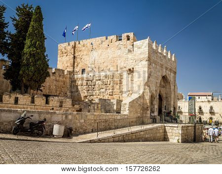 JERUSALEM ISRAEL - OCTOBER 3: The Tower of Phasael - one of three towers of Jerusalem Citadel entrance to the Tower of David Museum in Old City of Jerusalem Israel on October 3 2016