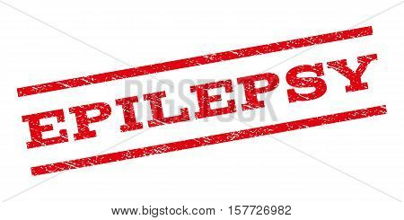 Epilepsy watermark stamp. Text caption between parallel lines with grunge design style. Rubber seal stamp with dust texture. Vector red color ink imprint on a white background.