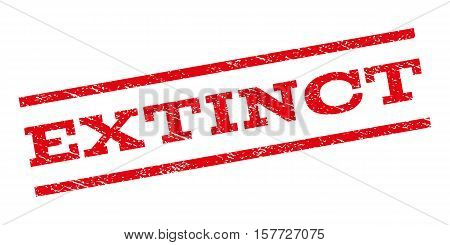 Extinct watermark stamp. Text caption between parallel lines with grunge design style. Rubber seal stamp with dirty texture. Vector red color ink imprint on a white background.