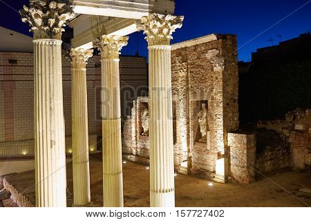 Merida in Badajoz Roman ruins at Spain Extremadura by Via de la Plata way