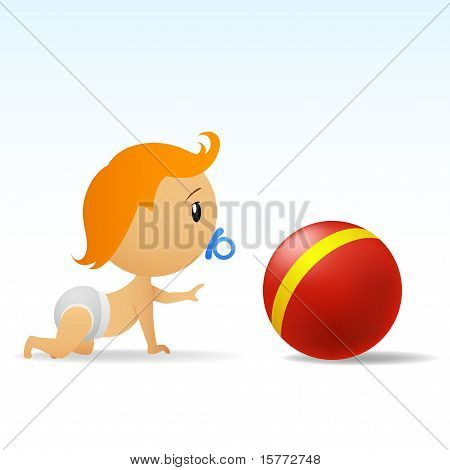 Cartoon Cute Baby Crawling To Red Ball