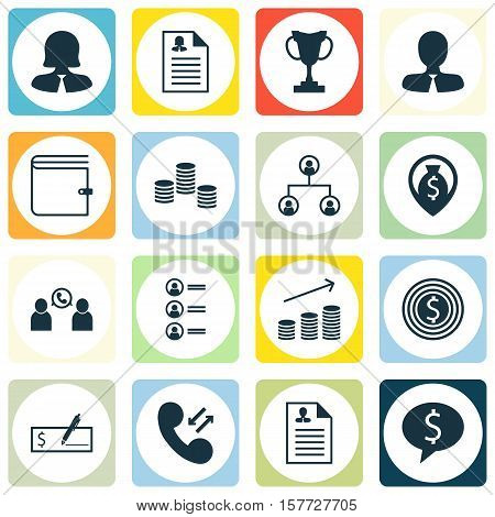 Set Of Hr Icons On Curriculum Vitae, Manager And Business Woman Topics. Editable Vector Illustration