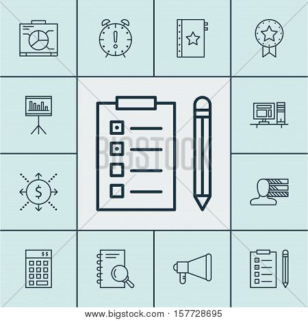 Set Of Project Management Icons On Time Management, Money And Warranty Topics. Editable Vector Illus