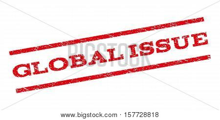 Global Issue watermark stamp. Text tag between parallel lines with grunge design style. Rubber seal stamp with dirty texture. Vector red color ink imprint on a white background.