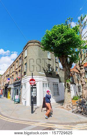 Street Scene At Redchurch Street In Shoreditch, London