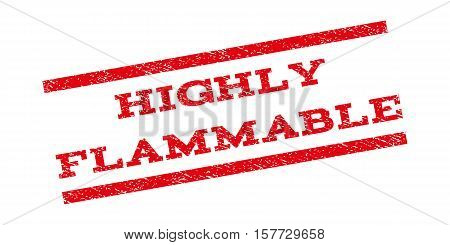 Highly Flammable watermark stamp. Text tag between parallel lines with grunge design style. Rubber seal stamp with dust texture. Vector red color ink imprint on a white background.