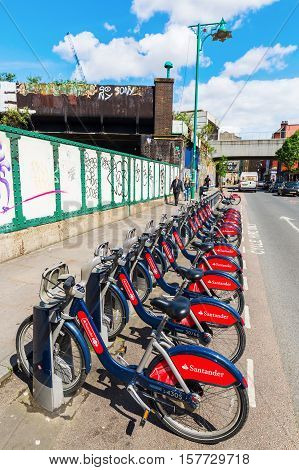 Row Of Santander Cycles In Shoreditch, London