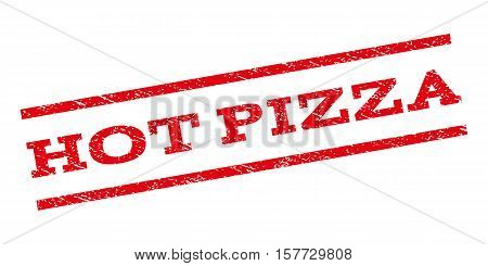 Hot Pizza watermark stamp. Text tag between parallel lines with grunge design style. Rubber seal stamp with dust texture. Vector red color ink imprint on a white background.