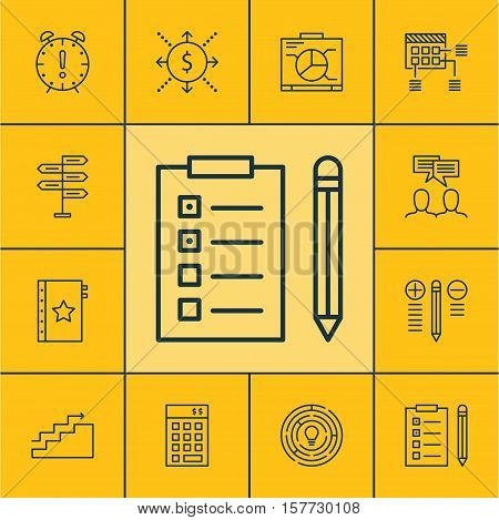 Set Of Project Management Icons On Time Management, Decision Making And Opportunity Topics. Editable