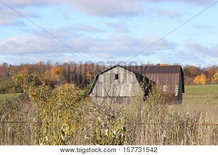 Old wooden barn fall day clouds trees