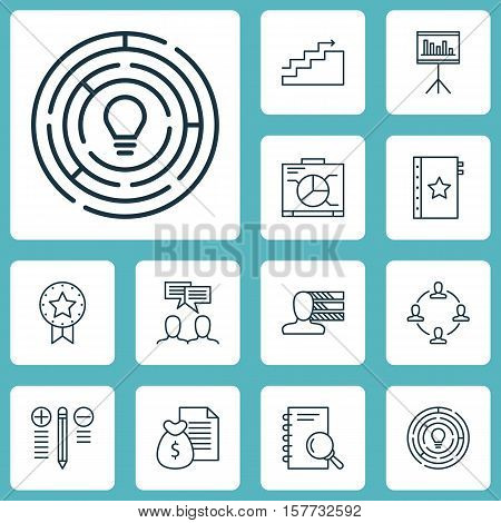 Set Of Project Management Icons On Presentation, Decision Making And Collaboration Topics. Editable