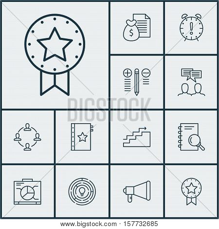 Set Of Project Management Icons On Analysis, Discussion And Decision Making Topics. Editable Vector