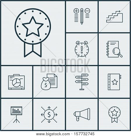 Set Of Project Management Icons On Board, Decision Making And Announcement Topics. Editable Vector I