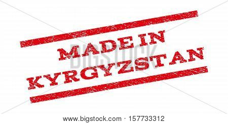 Made In Kyrgyzstan watermark stamp. Text caption between parallel lines with grunge design style. Rubber seal stamp with dust texture. Vector red color ink imprint on a white background.