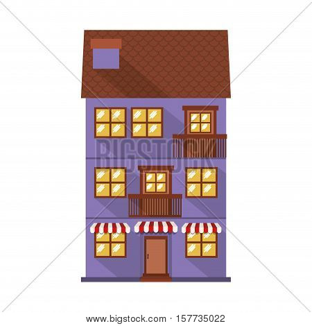 facade confortable residence with sunshade vector illustration
