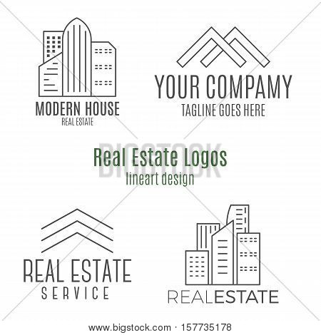 Set of real estate logo designs in lineart style. Monochrome vector