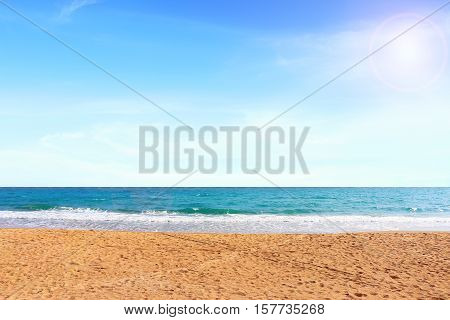 Beautiful beach under the afternoon time .