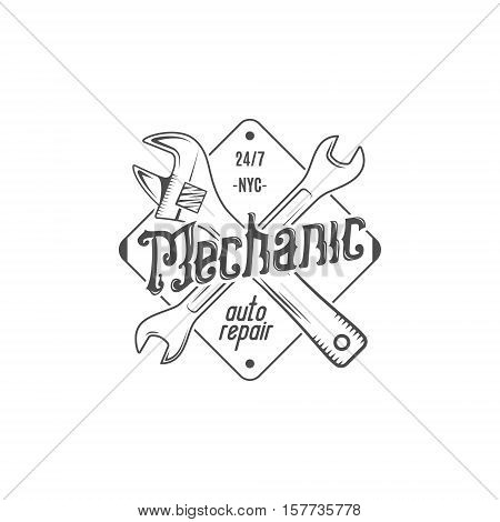 Vintage label design. Mechanic auto repair patch in old style with tools. Use for repair station, car service logo, badge, insignia. Retro monochrome design. Vector stamp