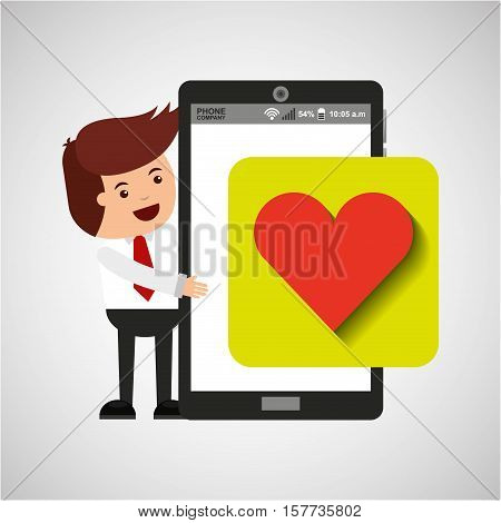 character with mobile app heart sign vector illustration eps 10