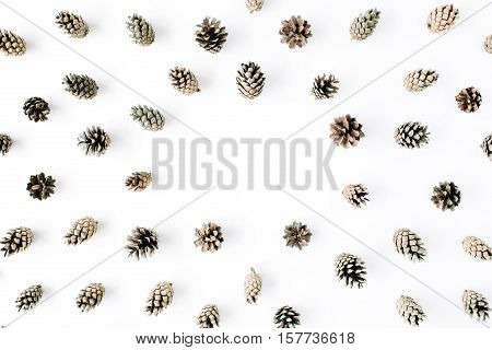 minimal creative cone frame arrangement pattern on white. flat lay top view. christmas background wallpaper.