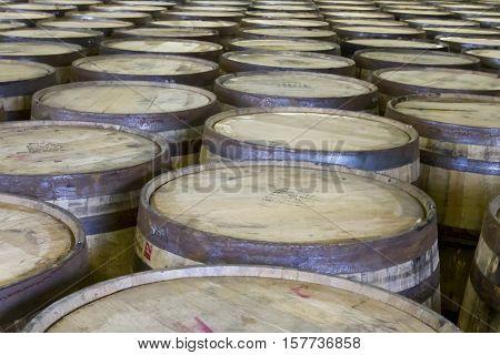 Tops Of Oak Barrels In Bourbon Distillery