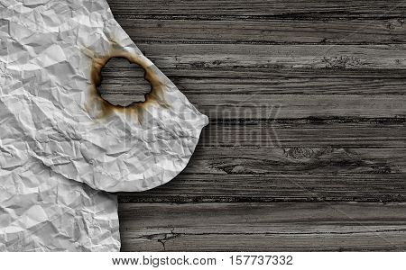 Breast cancer medical concept as a mammary gland tumor symbol as a cancerous growth symptom and diagnosis on a female anatomy made of abstract crumpled paper on wood with a burnt hole as a malignant lump or mass in a 3D illustration style.