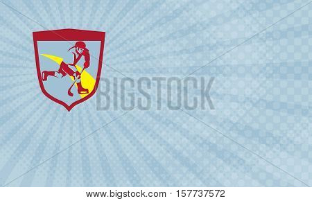 Business card showing Illustration of a ice hockey player skating with stick striking viewed from the side set inside shield crest done in retro style.