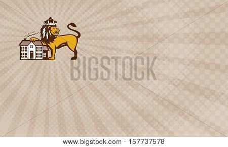 Business card showing Illustration of an king lion with crown looking to the side with it's paw on house set on isolated white background viewed from front done in retro style.