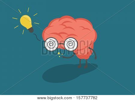 vector cartoon brain with light bulb meaningful. Ideas and creativity are caused by the brain.
