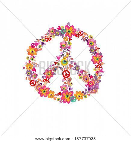 Hippie print with peace flower symbol