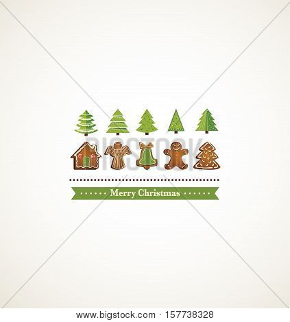 happy holiday card with christmas trees and gingerbread cookies. illustration
