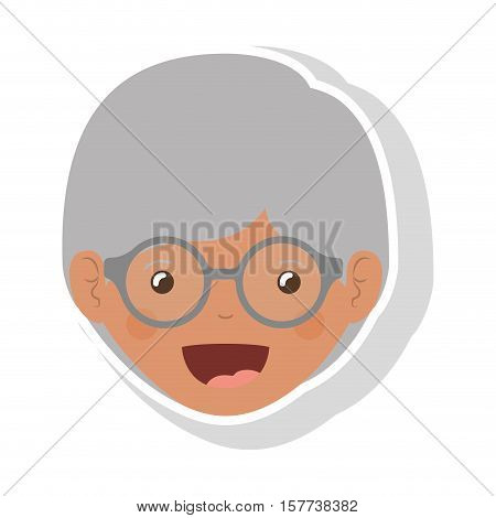front face elderly brunette woman with glasses vector illustration