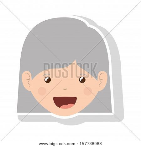 front face elderly woman with straight short hair vector illustration