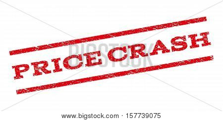 Price Crash watermark stamp. Text tag between parallel lines with grunge design style. Rubber seal stamp with unclean texture. Vector red color ink imprint on a white background.