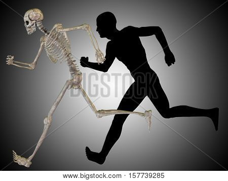 Concept conceptual 3D illustrstion of a human man with bones for anatomy, medicine or health, gray background, made of a skeleton and body as in a x-ray