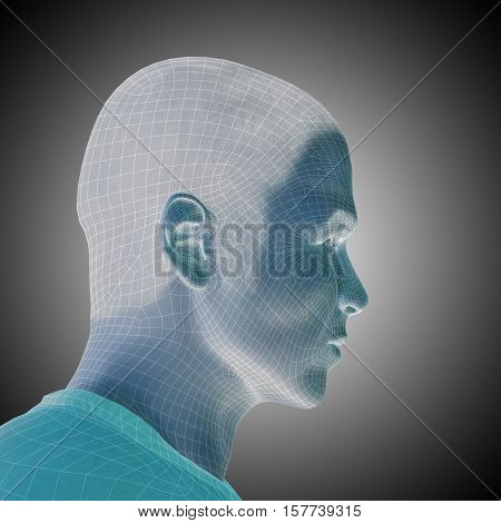 Concept or conceptual 3D illustration wireframe young human male or man face or head on gray background