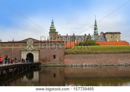 Copenhagen Denmark - October 2 2016: People visiting Kronborg or Elsinore Castle otherwise known as the castle Shakespeare set Hamlet in. Copenhagen Denmark