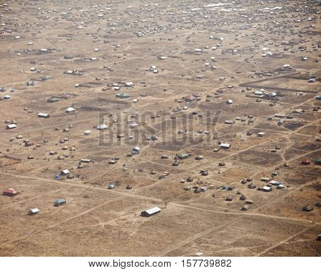 Aerial view of outskirts of Juba, capital of South Sudan
