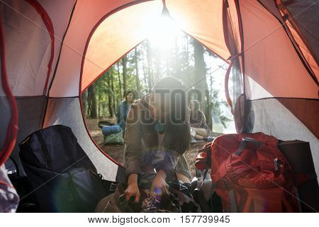 Girl Camping Tent Woods Outdoors Concept