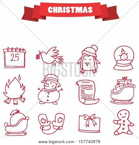 Christmas holiday icons collection stock vector illustration