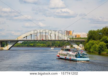 Cruise ship goes on the Moscow River in the area of Khimki in Moscow, Russia