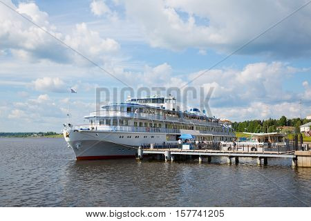 River cruise ship standing at the pier on the banks of the Volga River city of Uglich in Russia
